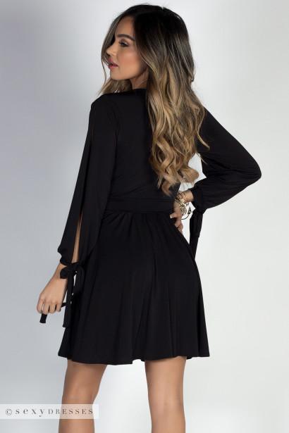 """""""Social Butterfly"""" Black Classy Ribbon Sleeve Surplice Dress"""