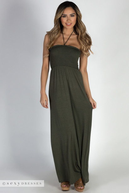 """Summer Rain"" Olive Halter Neck Maxi Dress"