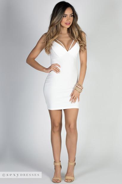 """Cover Girl"" Ivory White Sexy Strappy Bodycon Mini Dress"