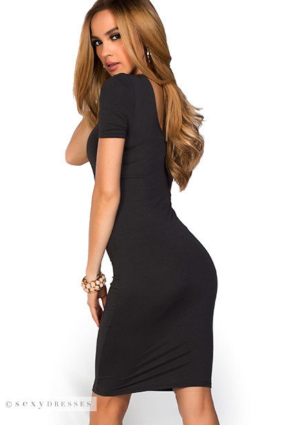 """Prue"" Black Short Sleeve Jersey Bodycon Casual Dress"