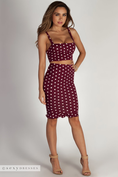 """About a Girl"" Burgundy Polka Dot Cropped Cami Top & Skirt Set"