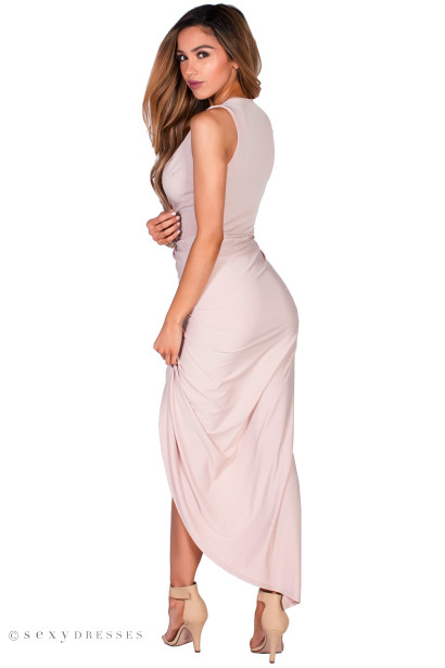 """Anecia"" Nude Blush Long Asymmetrical Draped Sleeveless Dress"