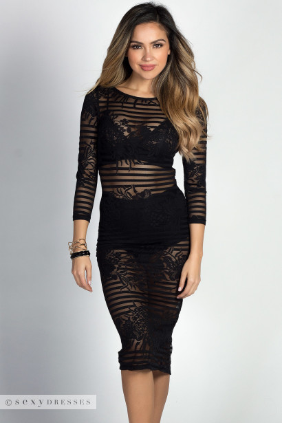 """Tempest"" Black Striped Lace 3/4 Sleeve See Through Midi Dress"