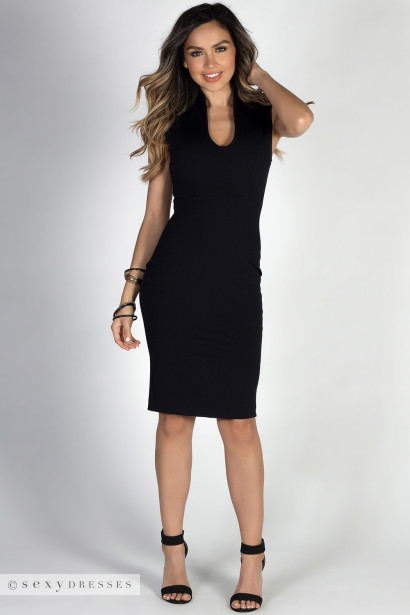 Respect Black Classy Sleeveless Fitted Sheath Dress
