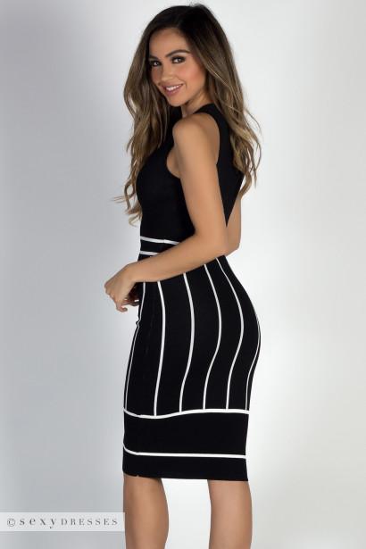 """""""Crushin' It"""" Black & White Sleeveless Zip Front Sweater Dress"""