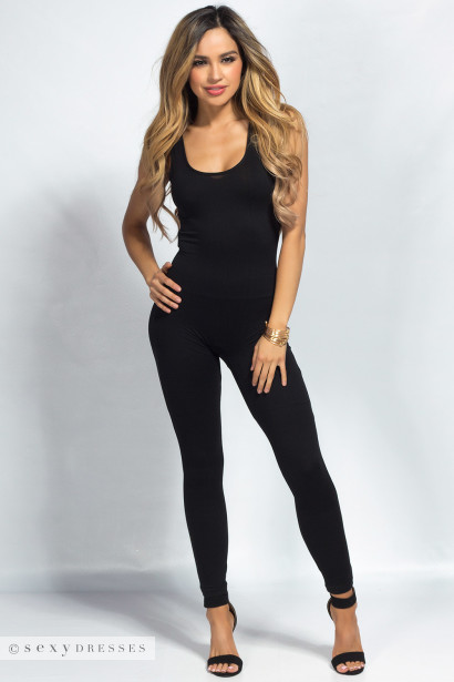 """Aaliyah"" Black Jersey Tank Catsuit Jumpsuit"