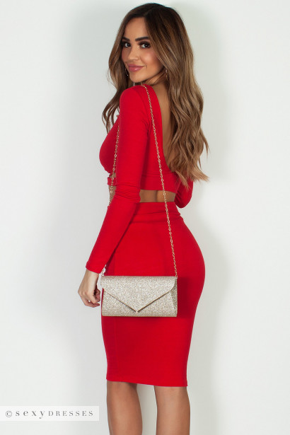 """""""Pasito, Pasito"""" Red Long Sleeve Crop Top W/ Skirt"""