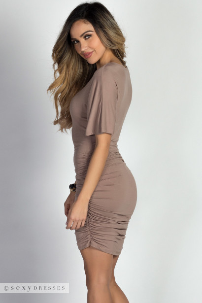 """Hannah"" Taupe Dolman Sleeve Ruched Jersey Dress"