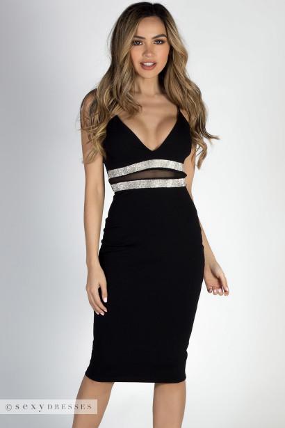 Fabulous Black Rhinestone Trim Empire Waist Midi Dress