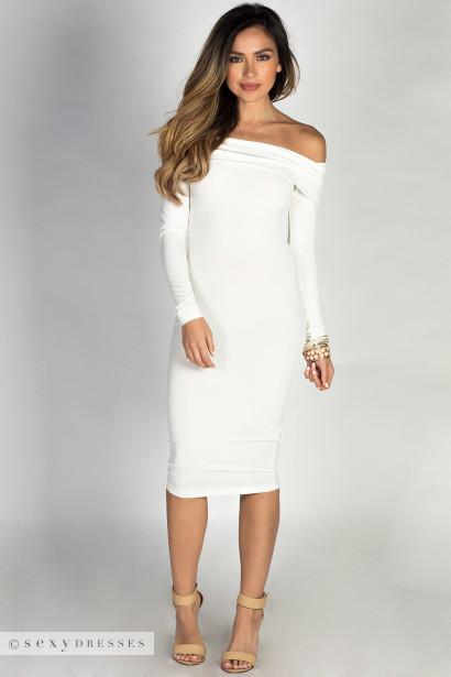 """Sabine"" Ivory Long Sleeve Off Shoulder Bodycon Midi Dress"