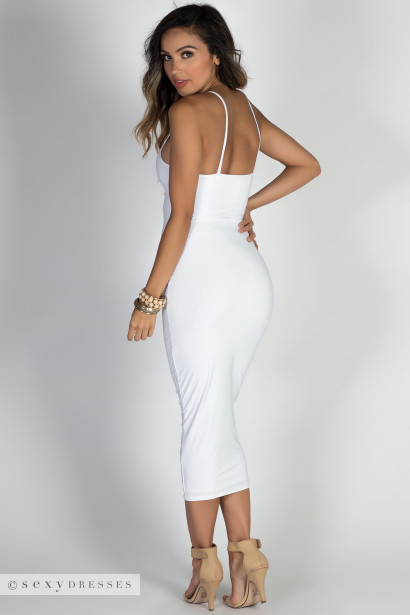 """Angel Heart"" White Elegant Simple Bodycon Long Midi Dress"