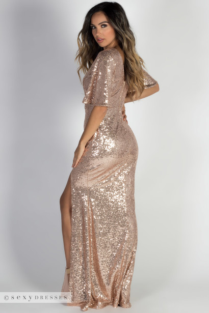 """Glam Goddess"" Rose Gold Bell Sleeve Sequin Maxi Gown"