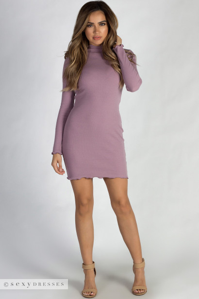 """Where Haven't We Been"" Dusty Lilac Ribbed Long Sleeve Merrow Hem Dress"