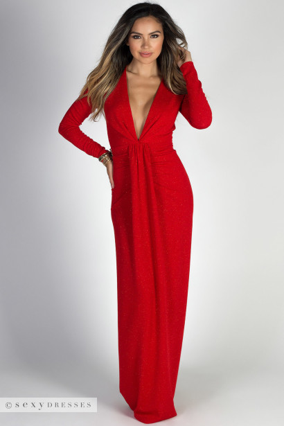 Red Long Sleeve Holiday Dresses