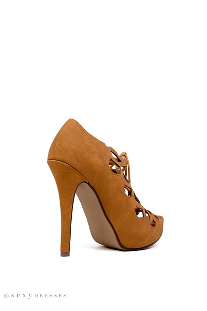 """Break of Dawn"" 5"" Heel Tan Womens Cut Out Booties"