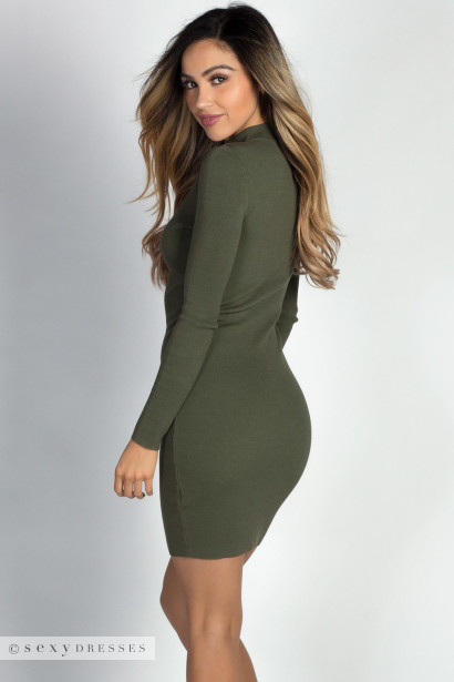 """Danni"" Olive Mockneck Long Sleeve Keyhole Sweater Dress"