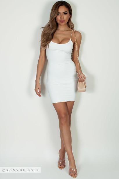 """All Or Nothing"" Off White Spaghetti Strap Mini Dress"
