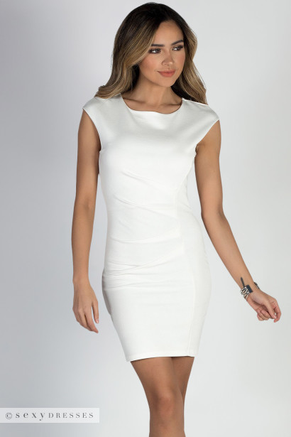 """Heartbeat"" Ivory Cap Sleeve Pleated Short Bodycon Cocktail Dress"