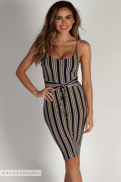 """""""It Feels Right"""" Navy and Yellow Striped Spaghetti Strap Dress W/ Front Tie"""