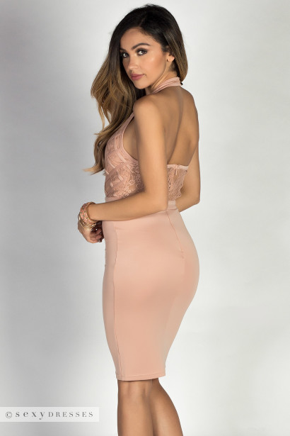 """Caryn"" Nude Lace Bodice Bodycon Halter Dress"