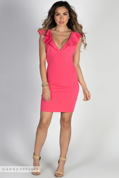 So Divine Neon Pink Deep V Ruffle Strap Bodycon Cocktail Dress
