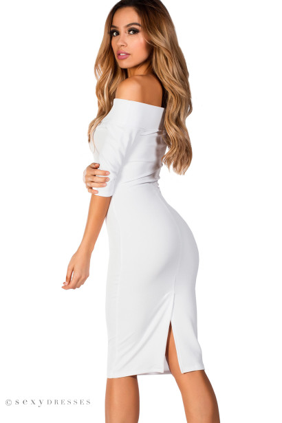 """Kimberly"" White Bodycon Off Shoulder Dress with Sleeves"