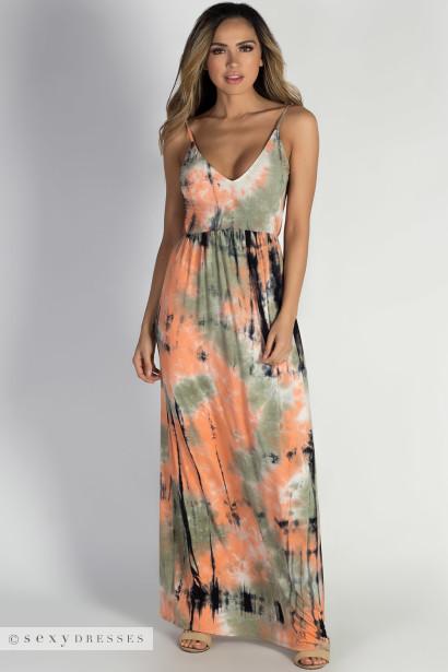 """Peace & Love"" Orange & Olive Tie Dye Backless Maxi Dress"