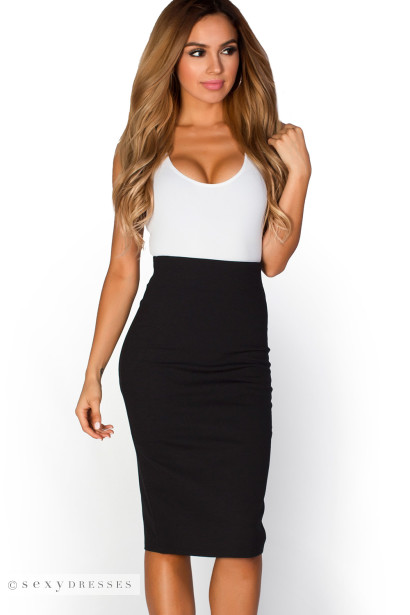 High Waisted Midi Pencil Skirt