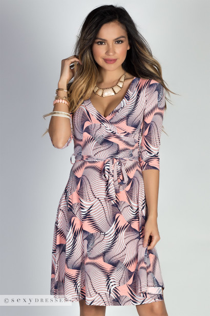 """Happy Hour"" Coral & Navy Abstract Print 3/4 Sleeve Surplice Neckline Dress"
