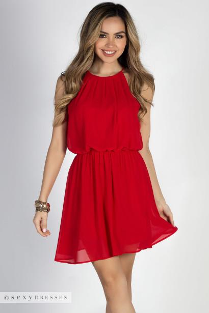 Red Short Chiffon Dress