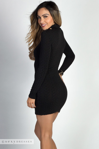 """Edina"" Black Soft Cable Knit Mini Sweater Dress"