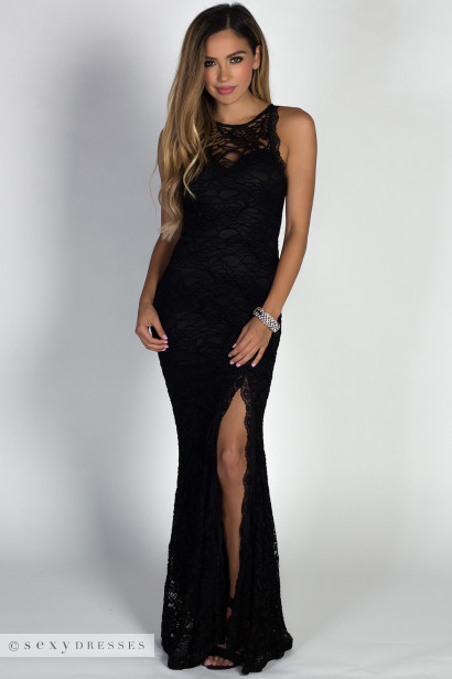 Stella Black Lace Sleeveless Sweetheart Hourglass Maxi Gown