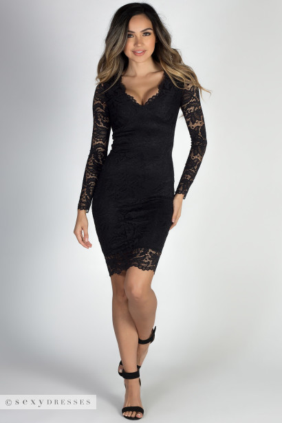 At Last Black Long Sleeve V Neck Elegant Lace Dress