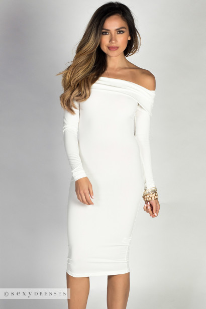 """Sabine"" Ivory Long Sleeve Off Shoulder Bodycon Midi Dress"