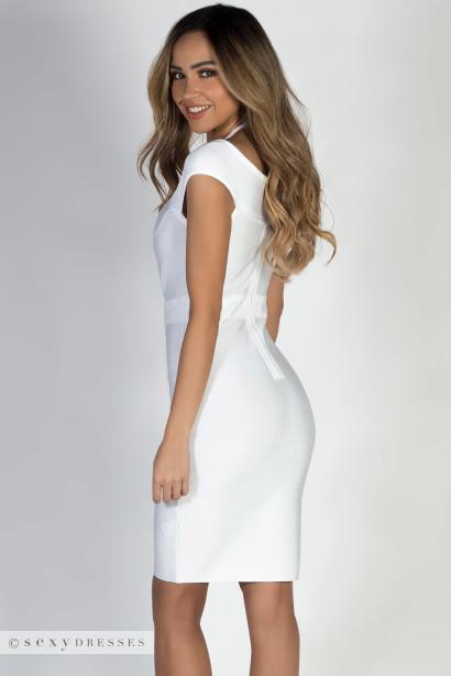 """""""Defy Gravity"""" White Off Shoulder Bandage Dress"""