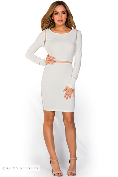 """Pearl"" Ivory White Long Sleeve Open Back Mesh Cut Out Dress"