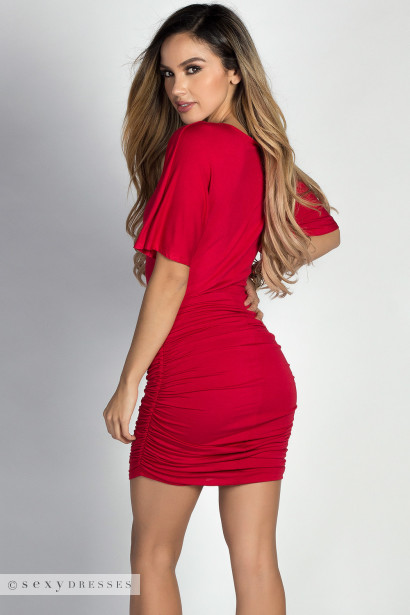 """Hannah"" Red Dolman Sleeve Ruched Jersey Dress"