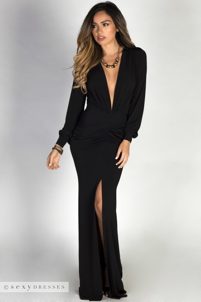"""Theda"" Black Plunging Deep V Long Sleeve Maxi Dress"