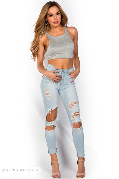 Samara&quot Blue Light Wash Stretch Denim Ripped Skinny Jeans