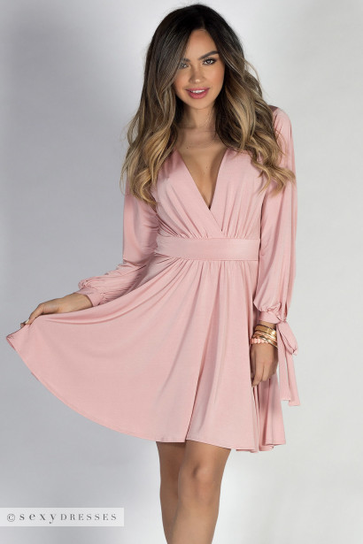 """Social Butterfly"" Rose Pink Classy Ribbon Sleeve Surplice Dress"
