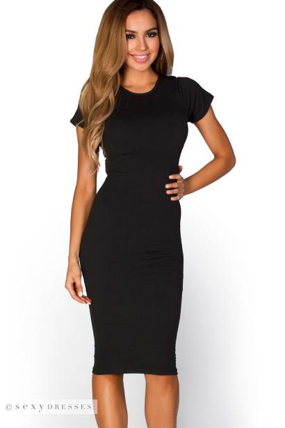 Elise Black Short Sleeve Bodycon T Shirt Midi Dress