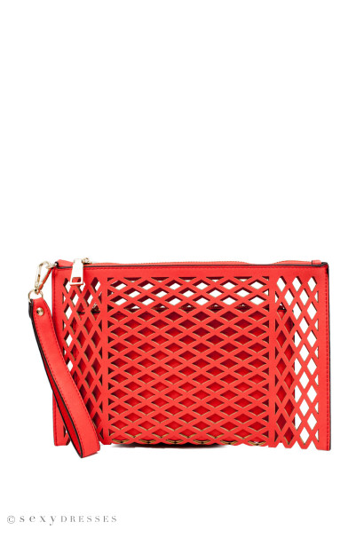 """Girl on Fire"" Coral Caged Laser Cut Wristlet Clutch Purse"
