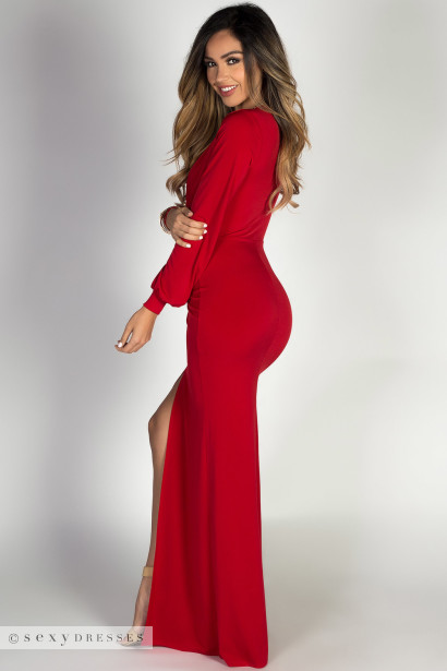 """""""Theda"""" Red Plunging Deep V Long Sleeve Maxi Dress"""