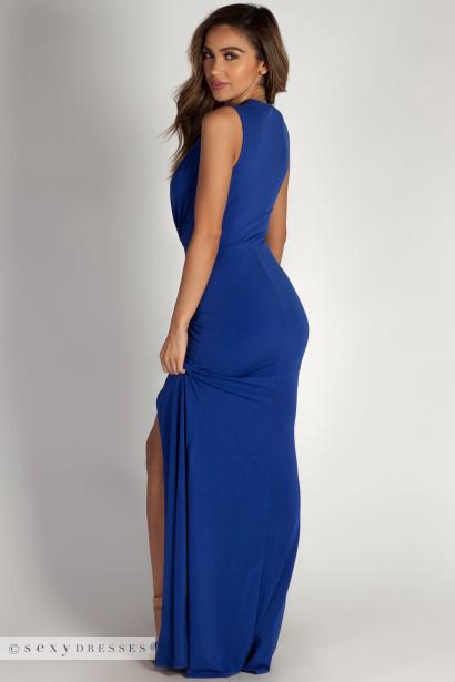 """""""Deep End"""" Royal Blue Plunging V-Neck Ruched Maxi Dress"""