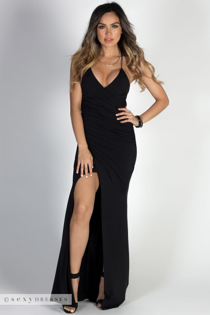 Hollywood Black Glamorous Backless Evening Gown With Thigh