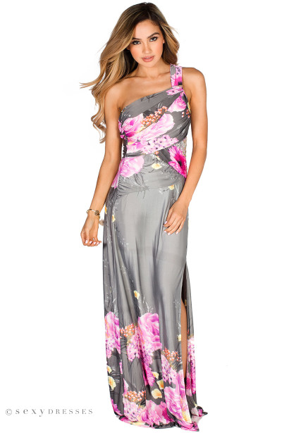 """Kiranda"" Gray & Purple Draped One Shoulder Tropical Maxi Gown"