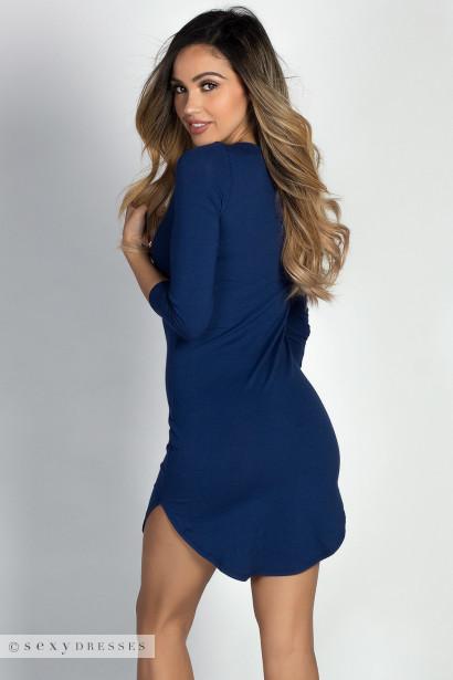 """Alaya"" Navy 3/4 Sleeve T-Shirt Tunic Dress"