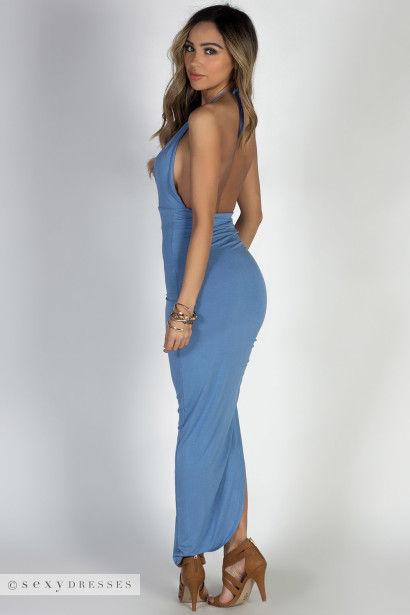 """Rain or Shine"" Blue Halter Maxi Dress"