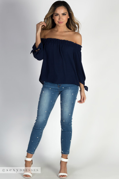 """Be Magical"" Navy Off The Shoulder Top"