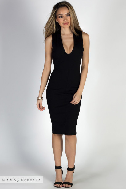"""Run to You"" Black Sleeveless Open Cross Back Cocktail Dress"